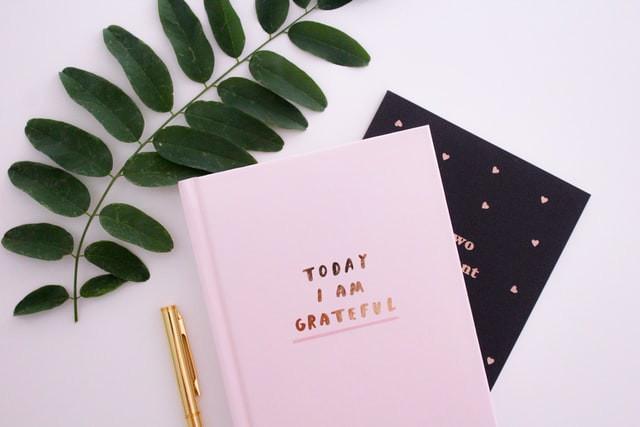 A pink gratitude journal