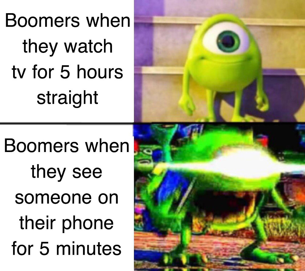 """A meme where the top caption says """"Boomers when they watch tv for 5 hours straight."""" The bottom picture says """"Boomers when they see someone on their phone for 5 seconds"""""""