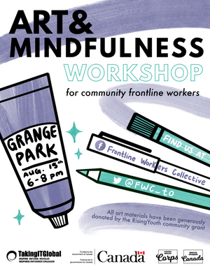 Art & Mindfulness Poster for Frontline Workers Collective designed and illustrated by Justice Walz