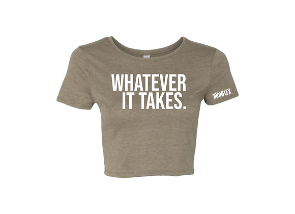 WHATEVER IT TAKES CROP TEE - Olive Green