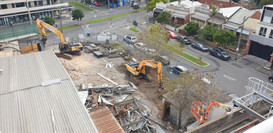 Drone shot of a commercial demolition in Melbourne