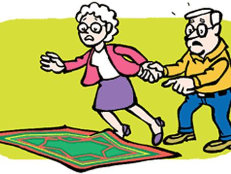 Os cômodos da casa com maior perigo de queda para os idosos