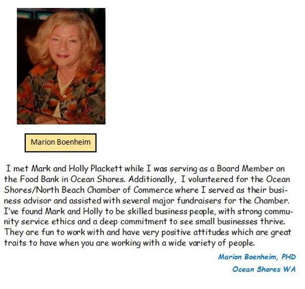 Capture of Marion's customer page bio PE