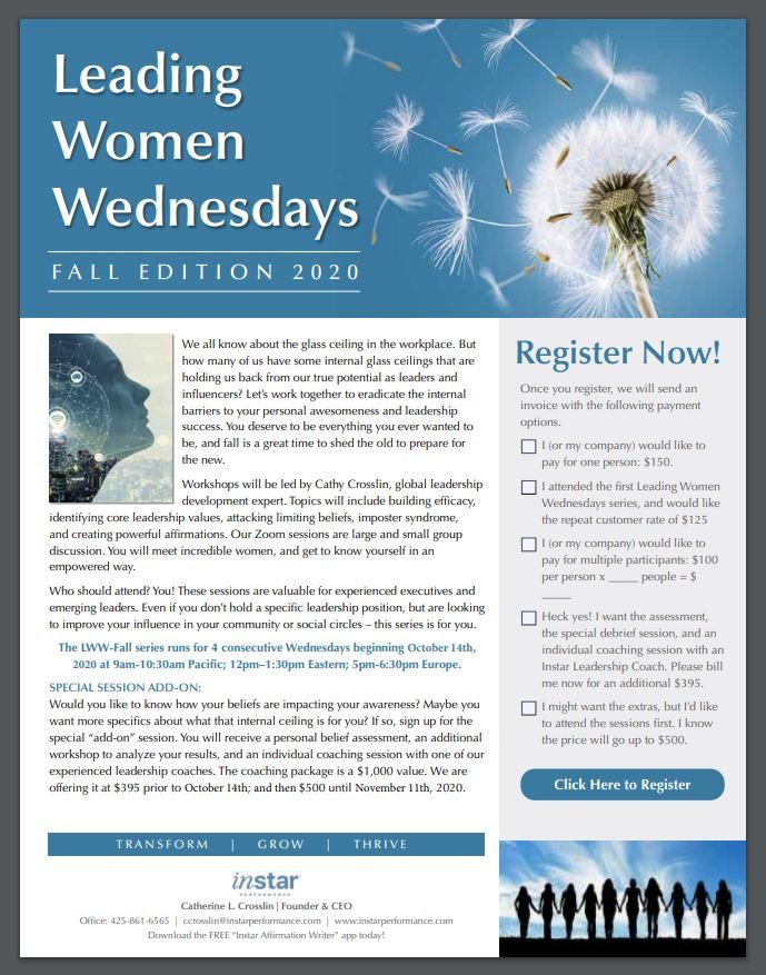 Capture of flyer for Leading Women Wedne