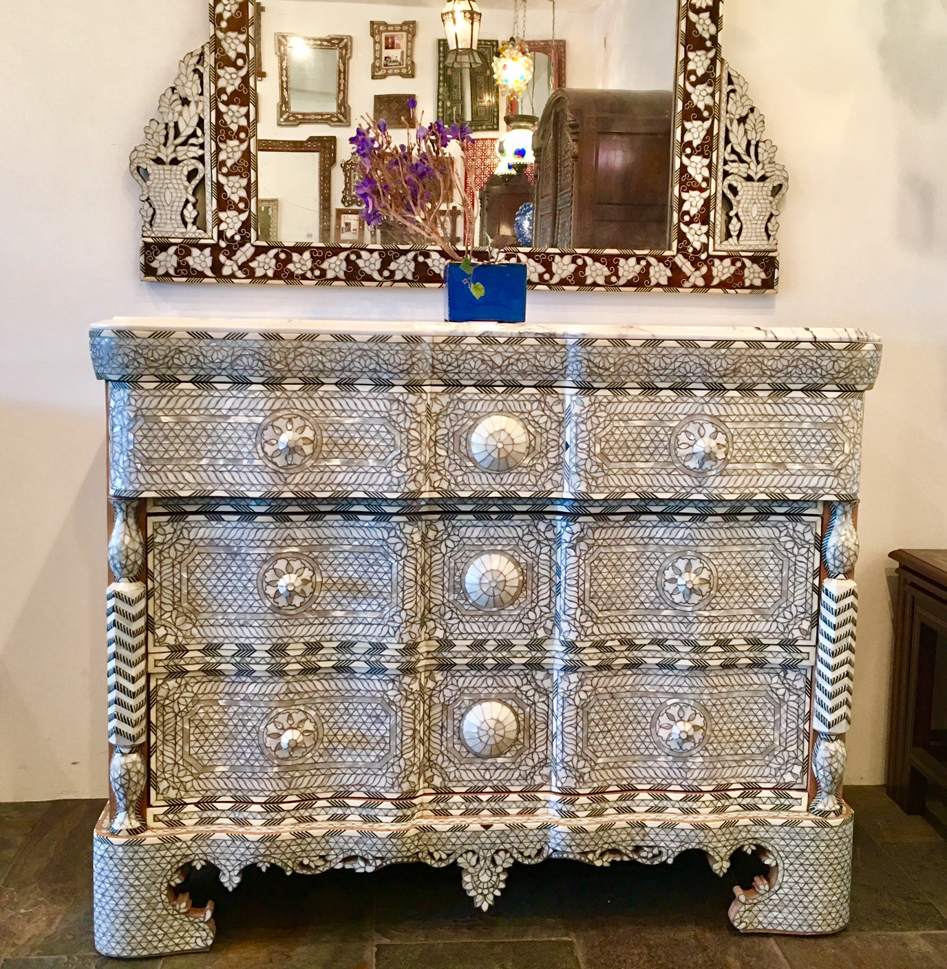Syrian mother of pearl inlay chest