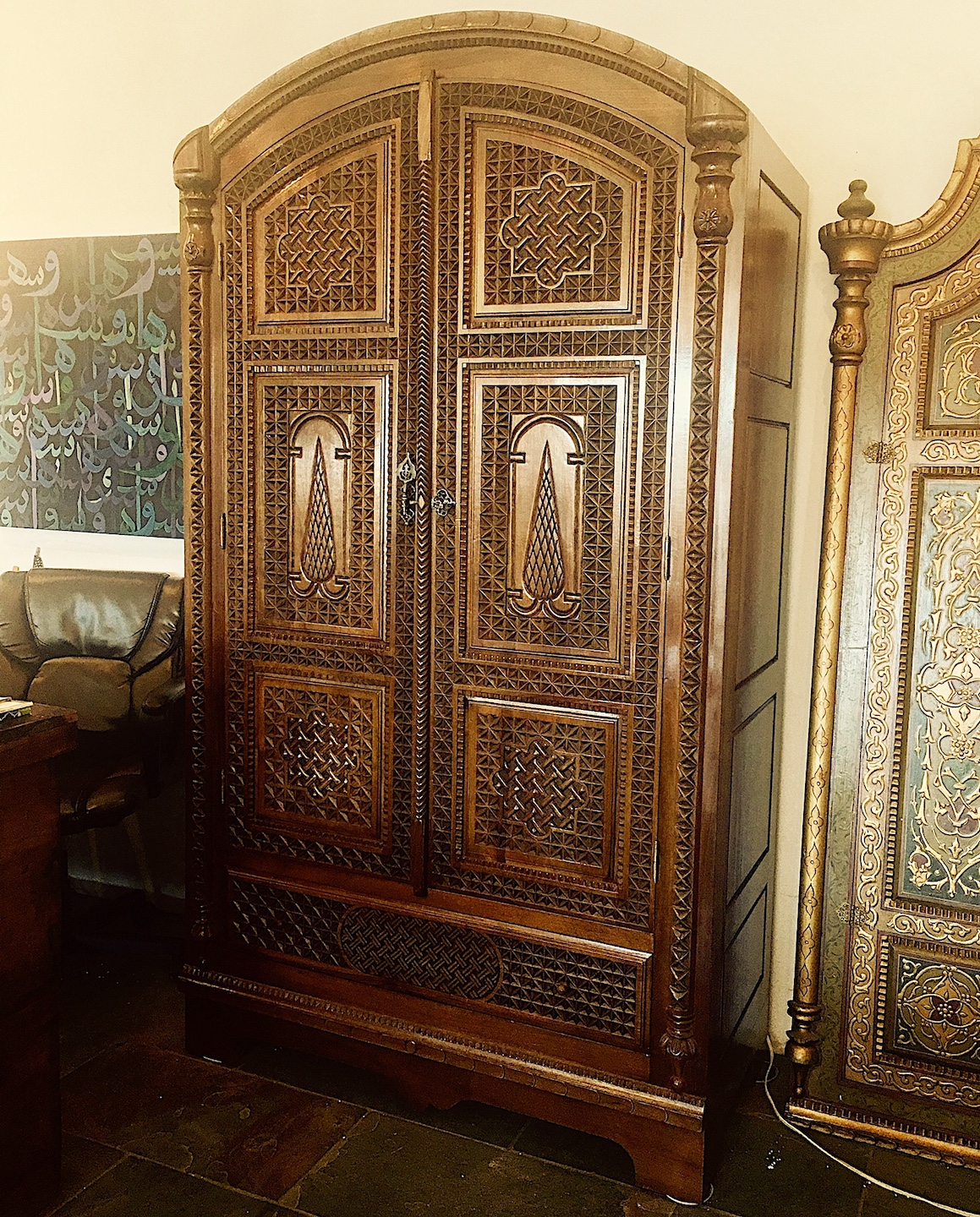 Hand carved armoire