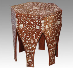 Mother of pearl inlaid Hexagon table