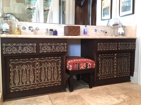 Syrian custom mother of pearl inlay vanity