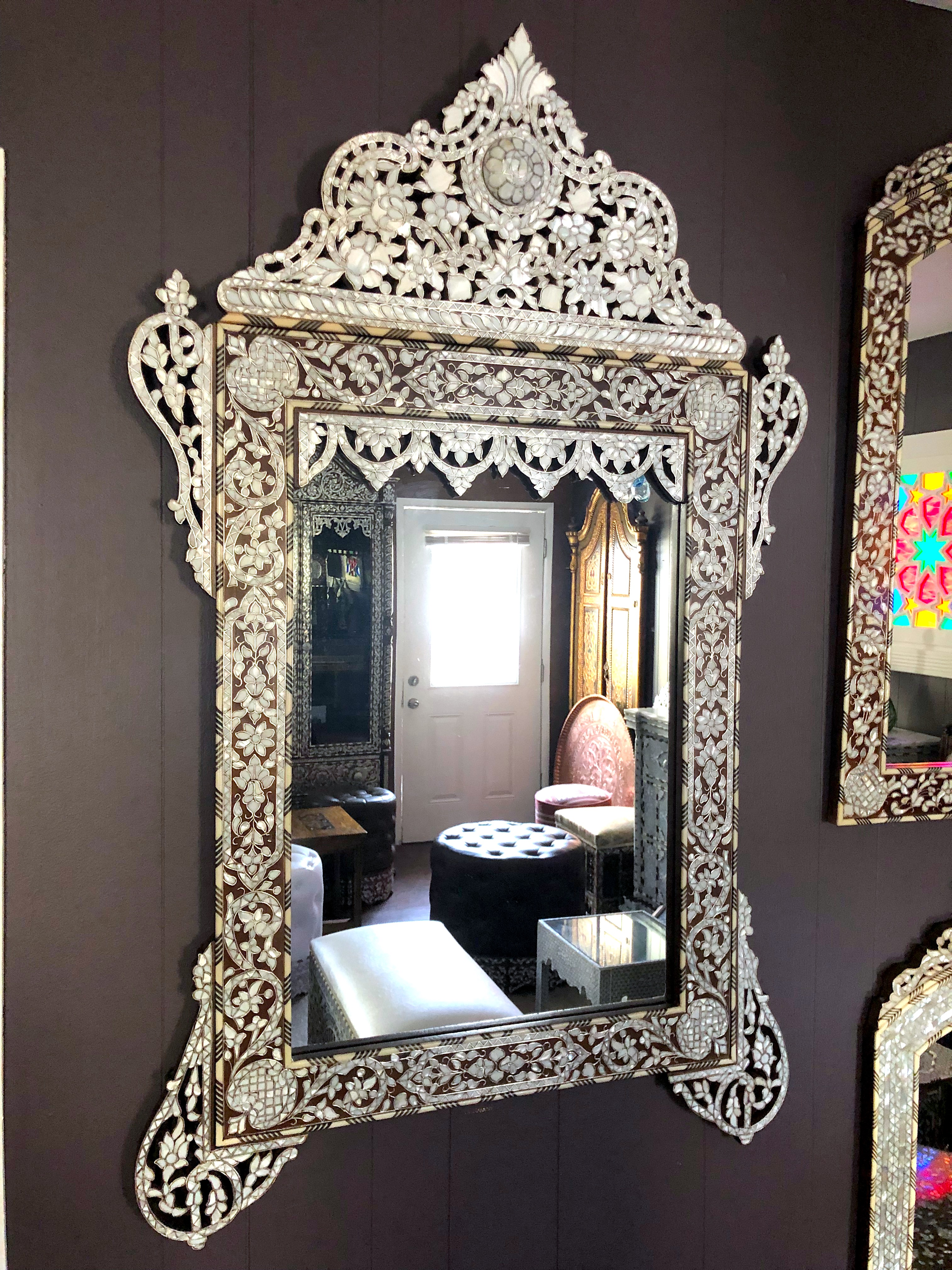 Mother of pearl inlay Syrian mirror