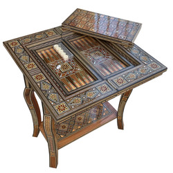 Syrian mosaic game table