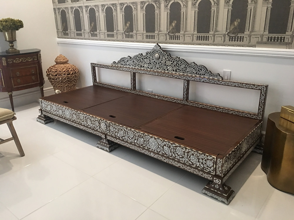 Mother of pearl inlay daybed