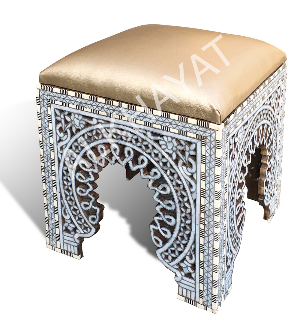 A Syrian Mother Of Pearl Bench Available To Purchase At: Alkhayat Furniture, Syrian Chair, Moroccan Chair