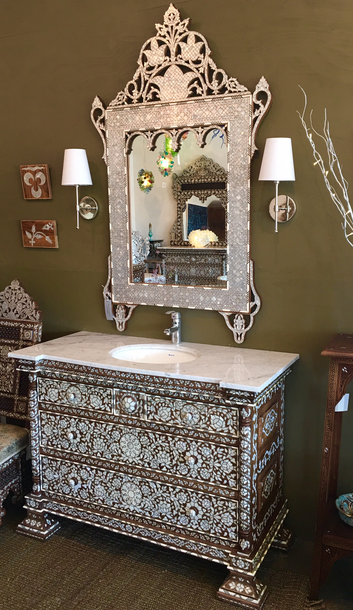 Mother of pearl vanity with mirror