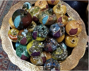small home decor semi precious stone ceramic pomegranate