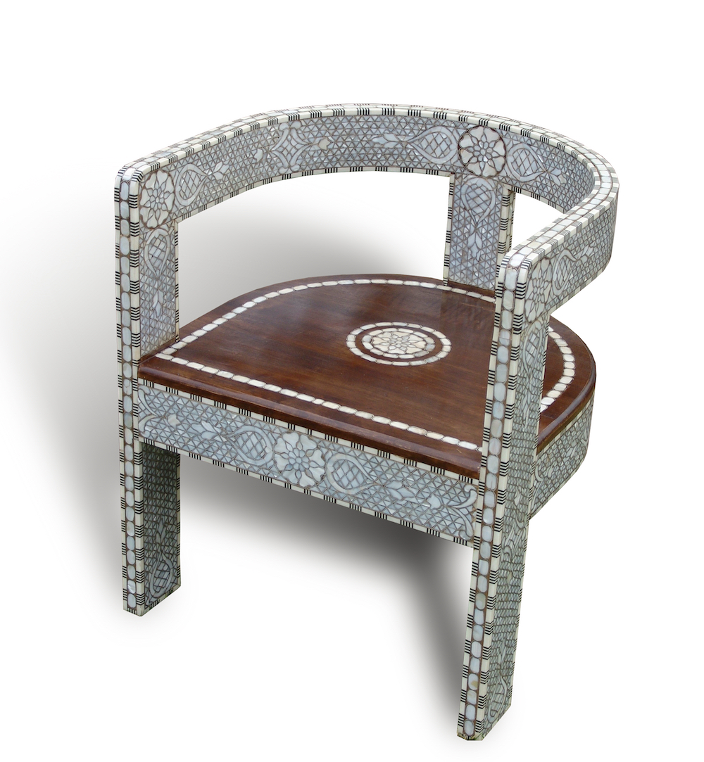 Syrian mother of pearl inlay chair