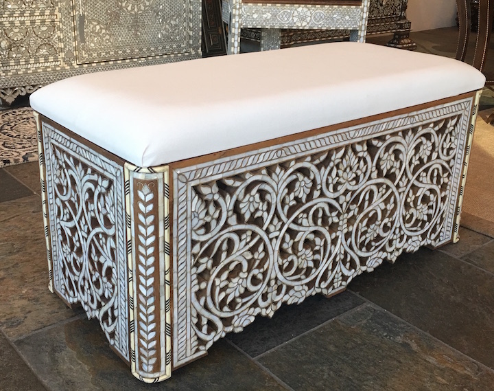 Syrian Mother of pearl inlaid bench
