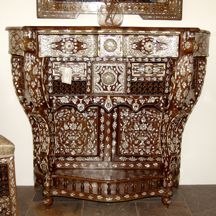 Mother of pearl inlaid console