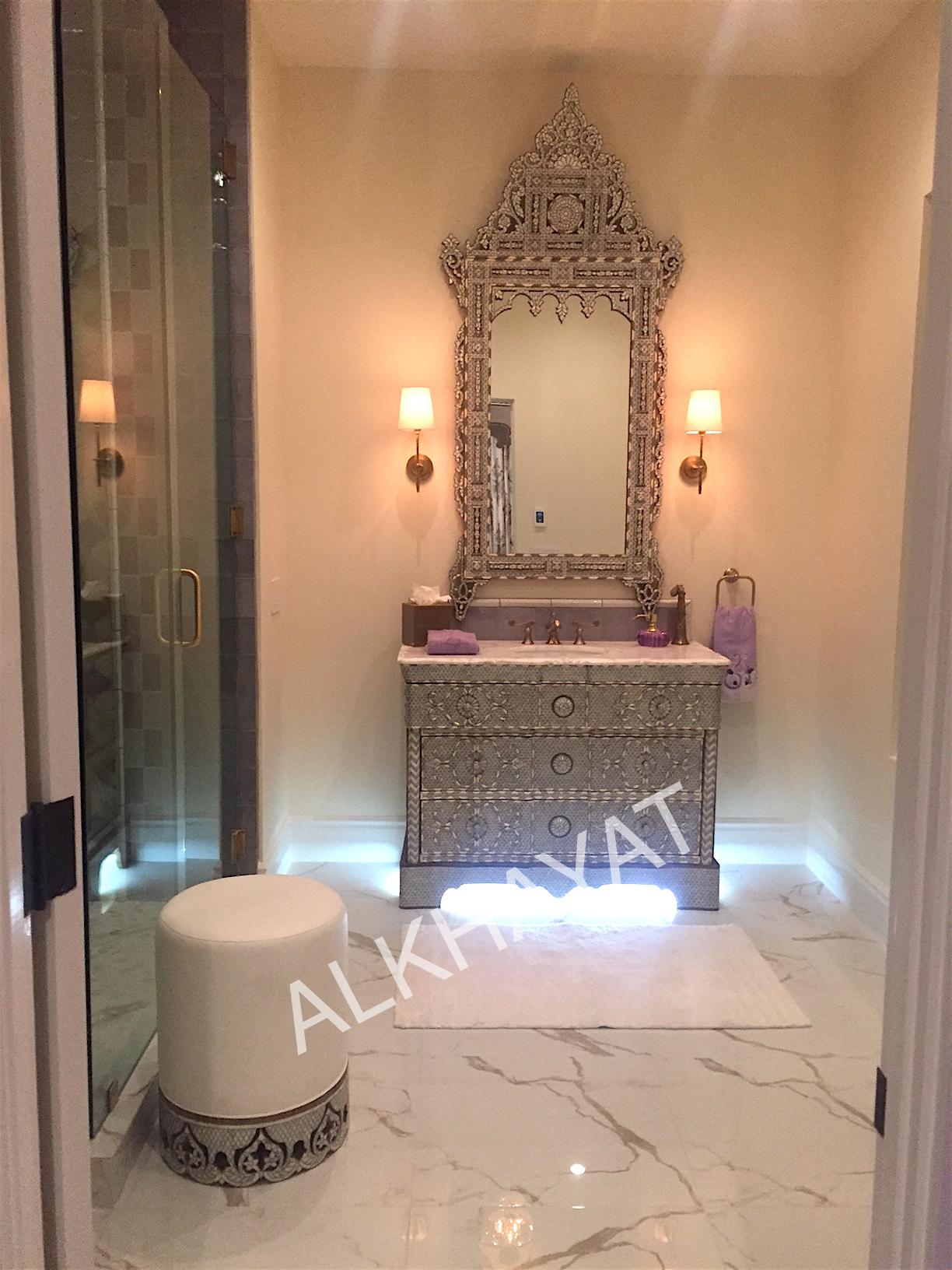Single sink vanity & Moroccan mirror