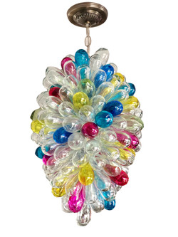 Light fixture of handblown glass