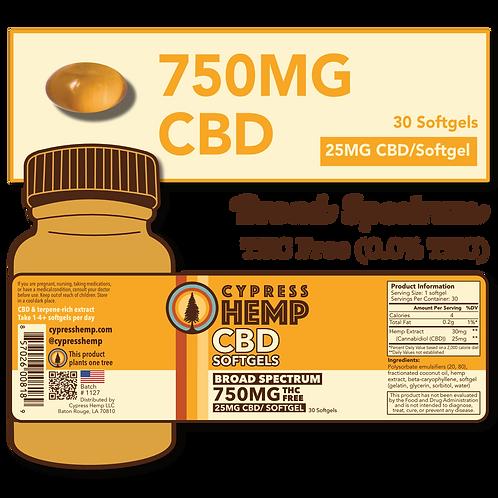 Broad Spectrum 750mg CBD Softgels