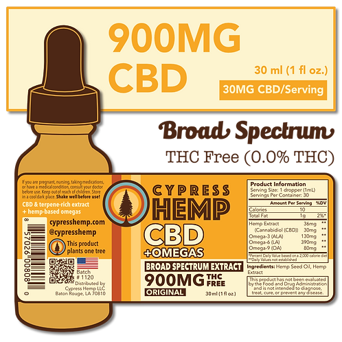 Broad Spectrum 900mg CBD+OMEGAS™ Drops