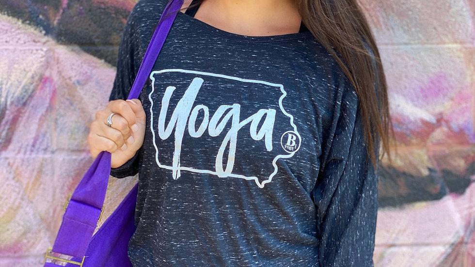 Iowa Yoga Black Marble Long Sleeve