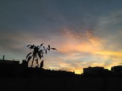 Le soleil se couche sur mon balcon