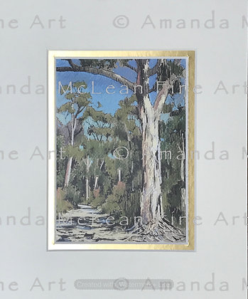 Mount Coree Gum Sketch.  Small Matted Print