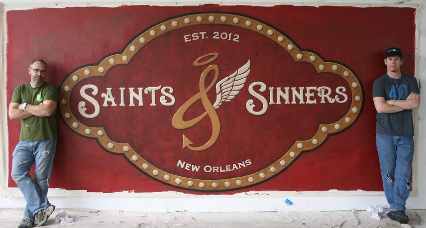 Mural on canvas for Channing Tatum's bar in New Orleans