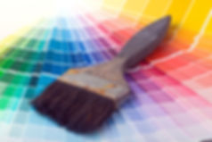 Paintbrush on color samples