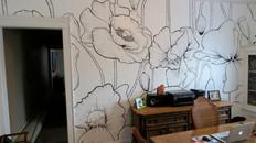 Giant poppy flower mural