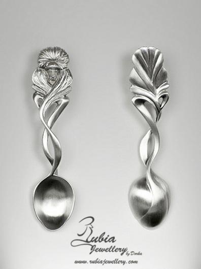 Art Nouveau Poodle coffee spoon