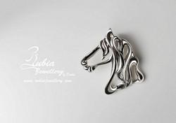 Art Nouveau Friesian horse head