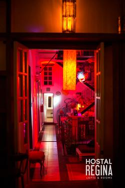 first floor hostel at night