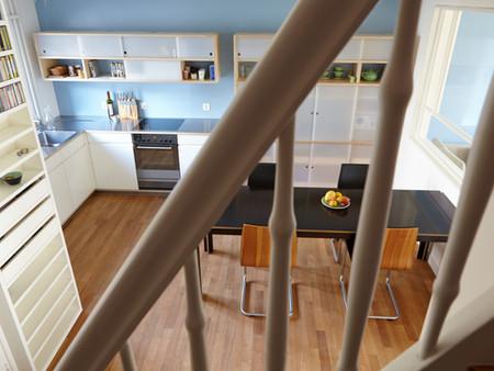 Umbau, Küche, Innenarchitektur/Möbeldesign, Farb/Materialkonzept