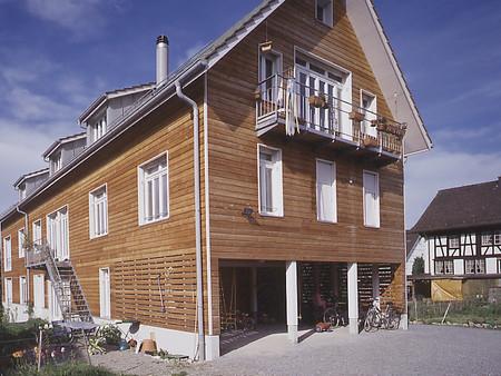 Neubau, Holzelementbau, Mehrfamhaus, Genossenschaft, Architektur, Innenarchitektur, Material/Farbkonzept