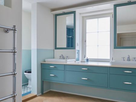 Denkmalgeschützter Umbau, Bad/Dusche, Innenarchitektur/Möbeldesign, Farb/Materialkonzept