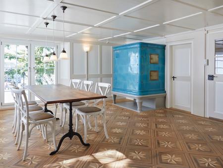 Denkmalgeschützter Umbau, Wohnzimmer, Innenarchitektur, Farb/Materialkonzept