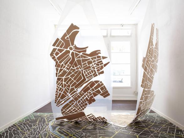 """Rauminstallation, """"oberflächig"""", Augenblicke vor Ort, Kunstraum R57 Zürich"""