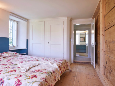 Denkmalgeschützter Umbau, Elternschlafzimmer, Innenarchitektur, Farb/Materialkonzept