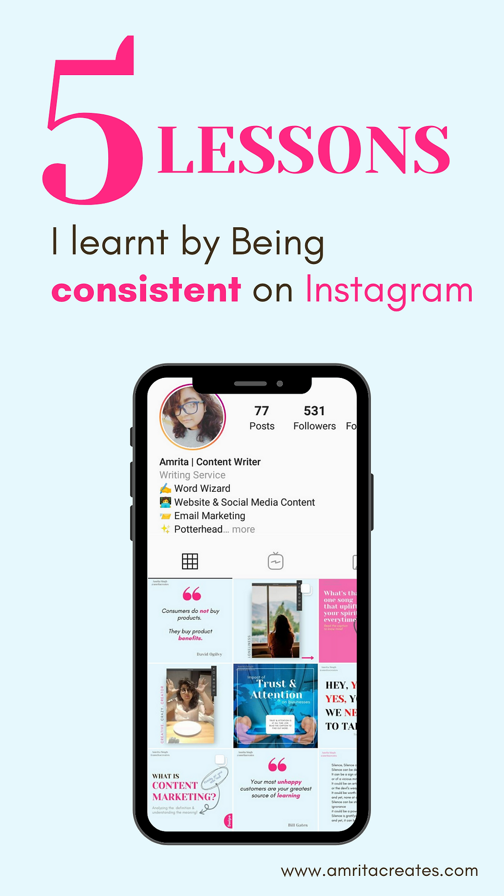 5 lessons Amroita Creates learnt by being consistent on Instagram