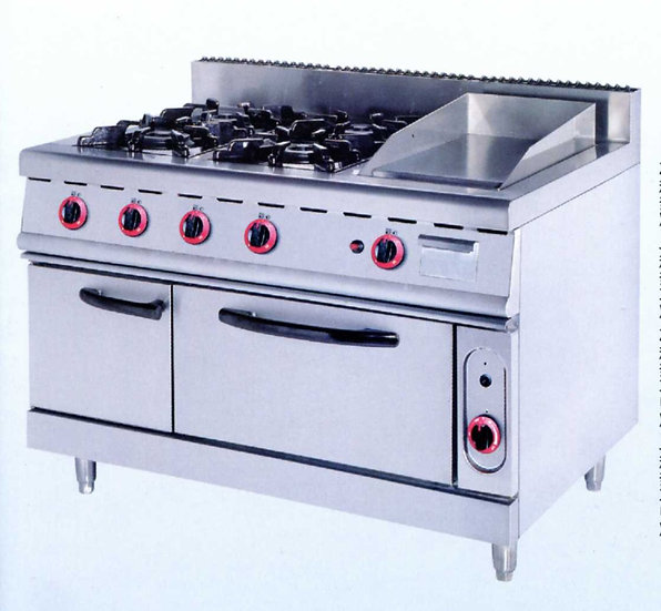 Four Burners & Griddle & Oven (Gas)