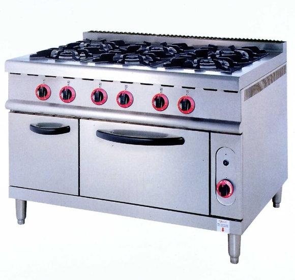 Six Burners & Oven (Gas)