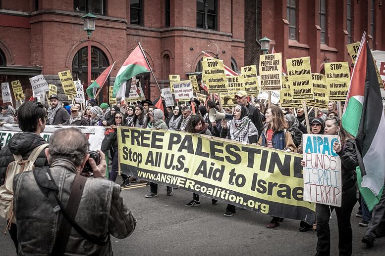 הפגנה נגד ישראל בוושינגטון, ב-2017