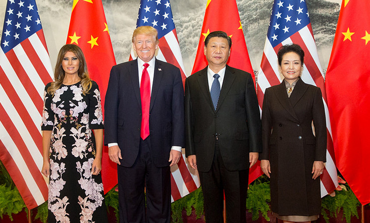 Trump, President Xi Jinping of China, and their partners in Beijing, June 2017. Rivals that need one another