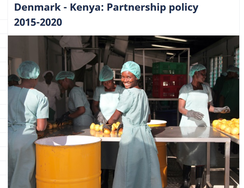 Denmark-Kenya partnership webpage on DANIDA's website