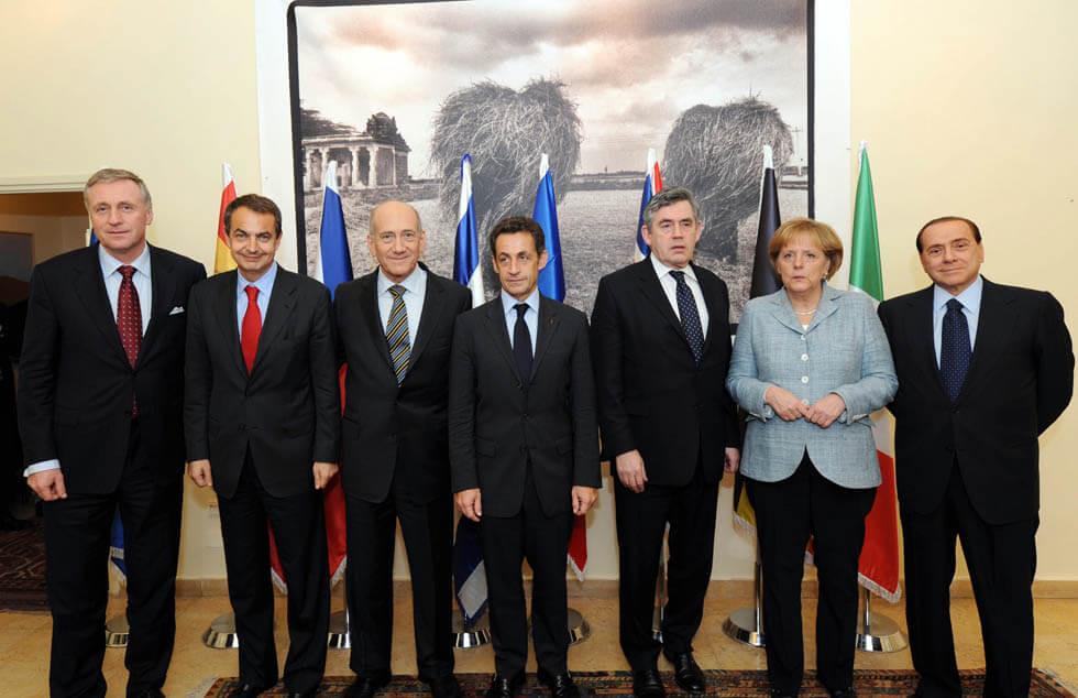 """מנהיגי אירופה שהגיעו להביע תמיכה בישראל בסוף """"עופרת יצוקה"""", ב-18 בינואר 2009"""