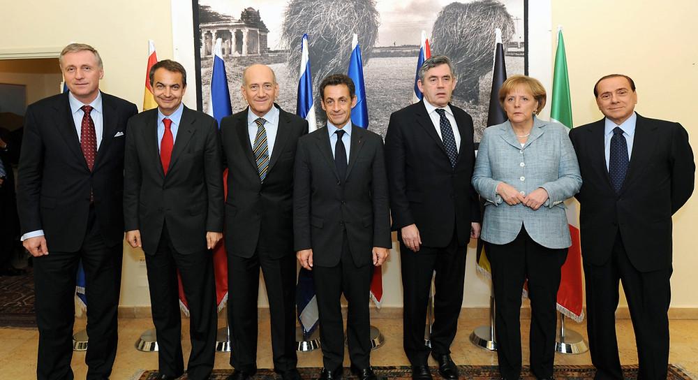 """ביקור מנהיגים מאירופה בישראל לקראת סוף מבצע """"עופרת יצוקה"""" ב-2009. צילום: אבי אוחיון, לע""""מ"""