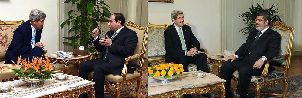 """מימין: מזכיר המדינה האמריקאי ג'ון קרי עם מורסי, ב-2013; משמאל, עם הנשיא א-סיסי, ב-2014. """"הדיפלומטי חי בהווה, לא בעבר"""""""