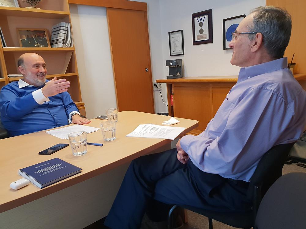 Ambassador Prosor (left) and Professor Gilboa during their conversation